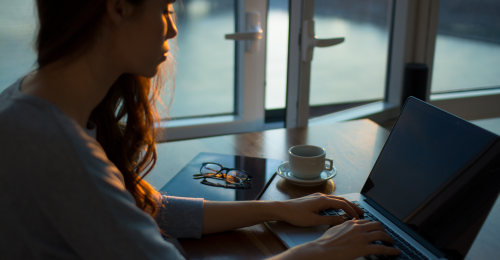 Woman Computer Drinking Coffee