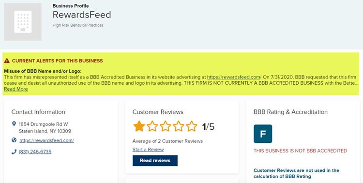 Better Business Bureau Alert for RewardsFeed