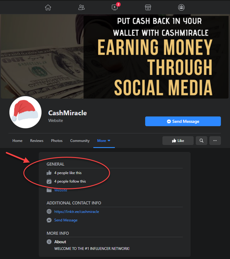 CashMiracle Facebook Page