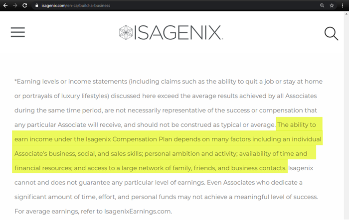 Isagenix Earnings Disclaimer