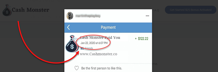 Cash Monster Fake Date of Payout