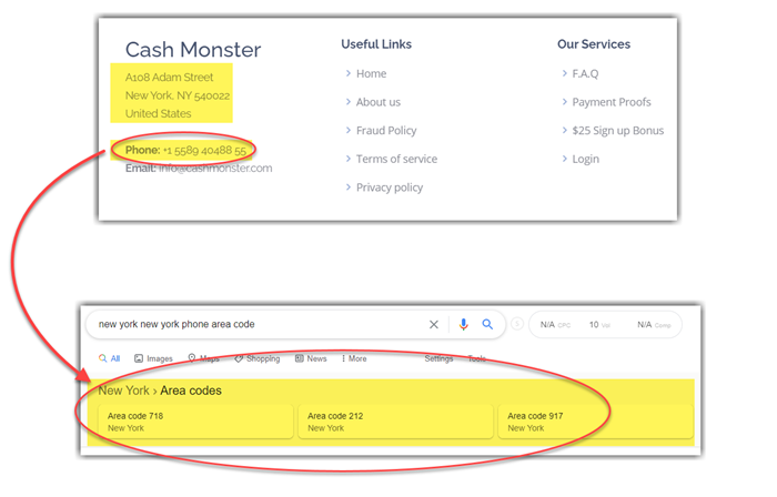 CashMonster Fake Contact Information