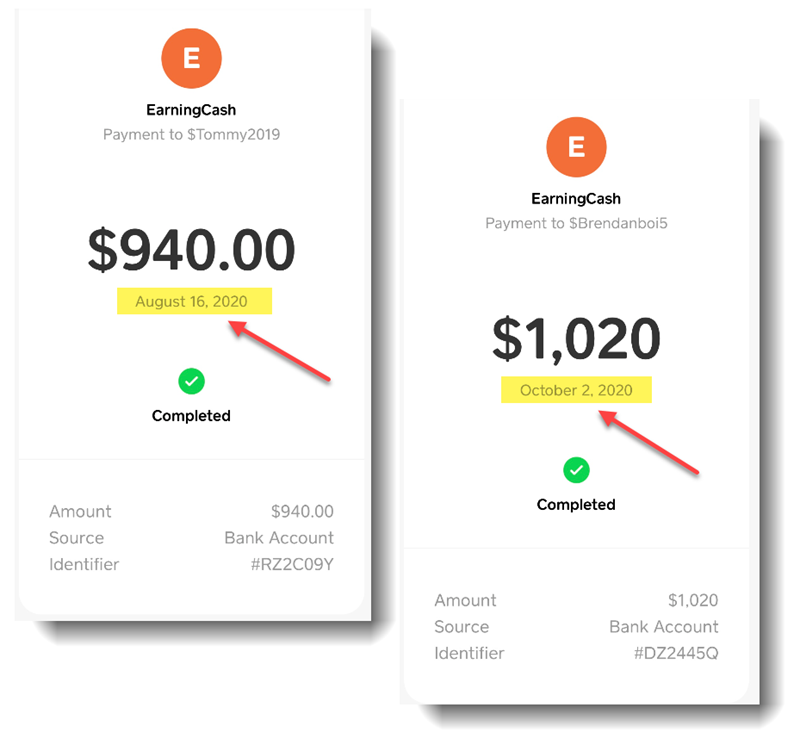EarningCash Payment Proof 1 and 2