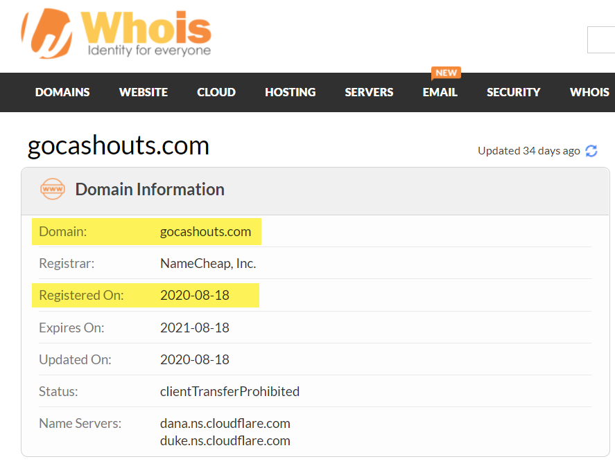 GoCashouts.com Domain Registration