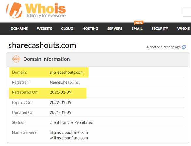 Sharecashouts.com Domain Registration