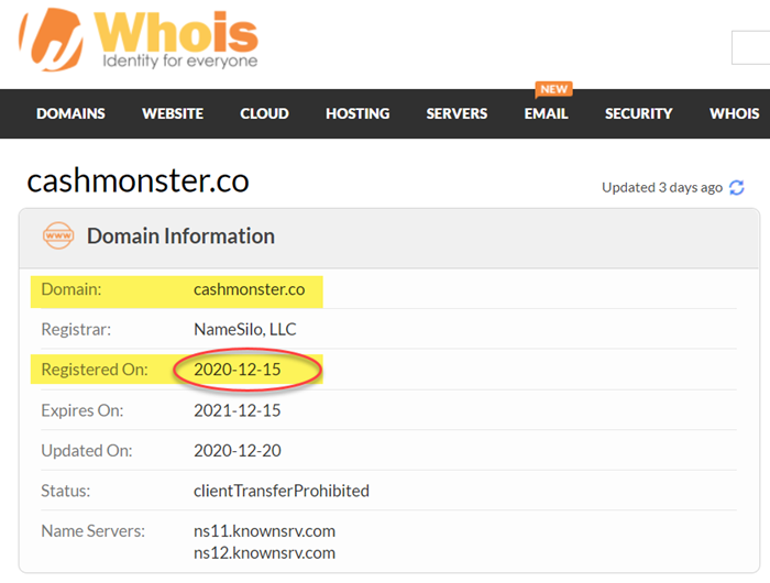 cashmonster.co domain registration