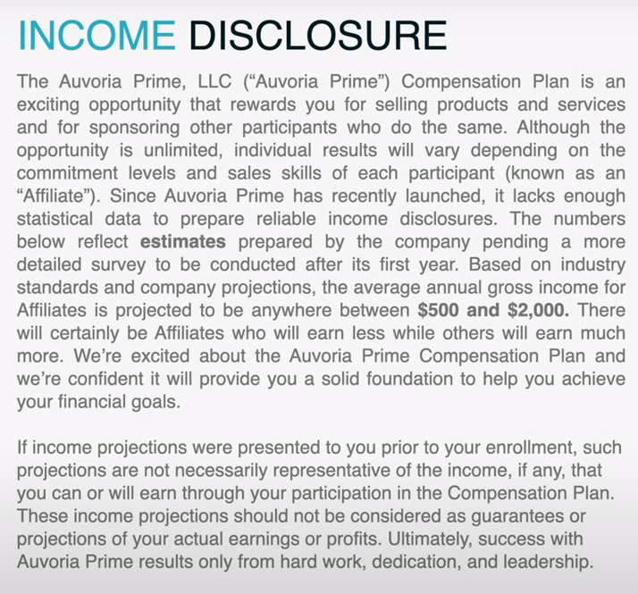 Auvoria Prime Income Disclosure