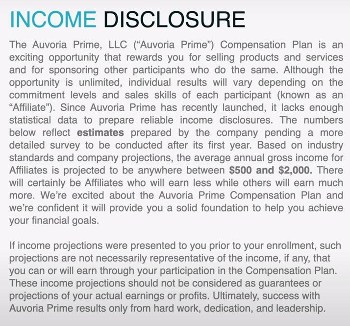 Auvoria Prime Income Disclosure