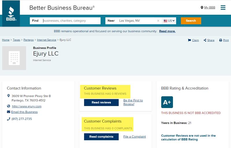 eJury Better Business Bureau