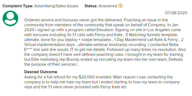 Elite Marketing Pro BBB complaint