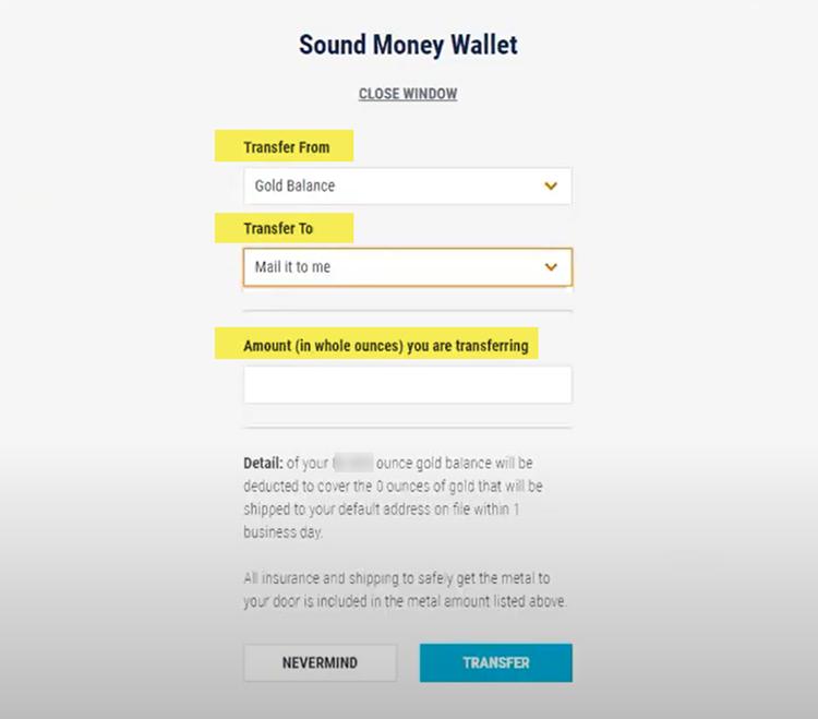 7K Members Sound Money Wallet Gold Transfer