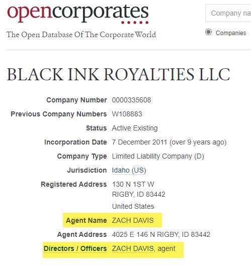Black Ink Royalties Zach Davis OpenCorporates