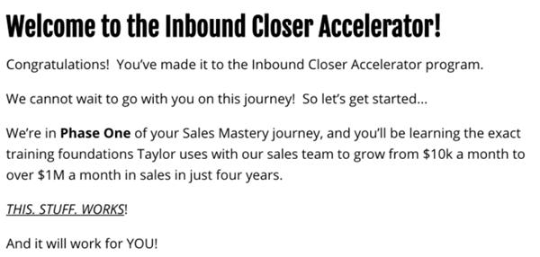 Inbound Closer Accelerator Welcome Screen