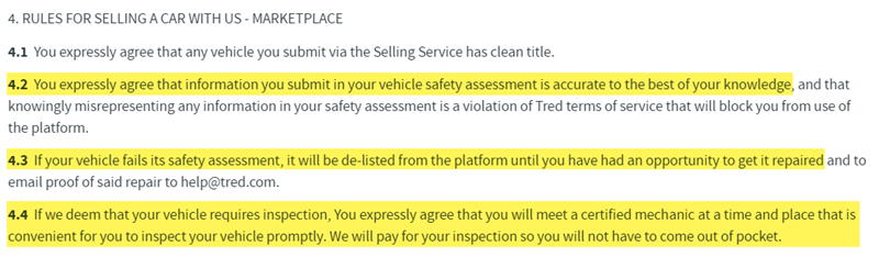 Tred Terms of Use Regarding Safety Inspections