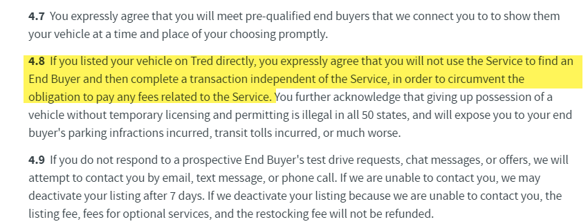 Tred User and End Buyer Policy