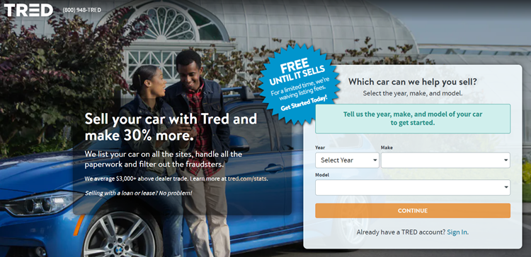 Tred.com Sell My Car Page